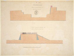 Sections through the face of the inner fort and through the cavalier within the N. face of the lower fort at Gurramkonda